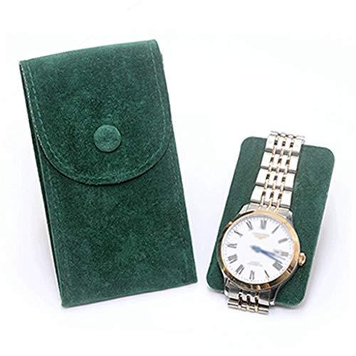 XXSW Cuero Reloj Caja Superfibers Reloj Bolsa de Proteger el café del Color del Reloj mecánico Cajas de Almacenamiento Estuche de Viaje Cajas (Color : Green)