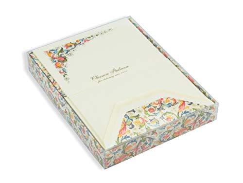 Briefkartenmappe, Briefpapierbox groß zum Schreiben, 10 Blatt Briefpapier, 10 DIN B6 Brief-Umschläge, Geschenkbox mit Deckel, Florentiner Hochzeitspapier traditional