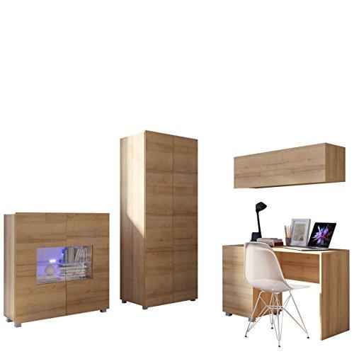Mirjan24 Jugendzimmer Set Calabrini XIV, inkl. Kleiderschrank, Schreibtisch, Kommode, Wandregal, Komplett, Kinderzimmer Set (Eiche Gold, mit weißer LED Beleuchtung)