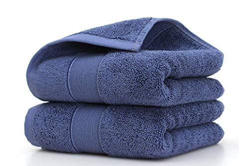 HongLanAo Algodón Toallas de Hotel o Hogar Set 2 Piezas de Lujo Suave y Extra Grueso Altamente y Absorbente Toalla 2 * 170g / 14 * 30 Pulgadas (Azul-2 Pack)