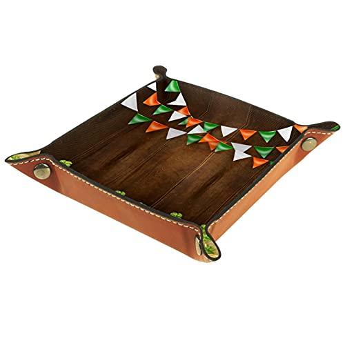AITAI Bandeja de valet de cuero vegano, organizador de mesita de noche, placa de almacenamiento de escritorio, fondo de madera de San Patricio