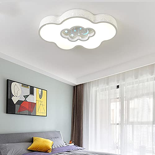 Lámpara De Techo Regulable Con Mando A Distancia Para Habitación Infantil,Plafón Led De Techo,Dibujos Animados Nube Creativa Iluminación Blanco 63Cm Atenuación Continua