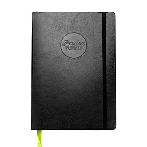 Passion Planner Tageskalender, Medium Undatiert – Zielorientierte Agenda, Terminkalender, Rückschau-Tagebuch – (B5, 17,8 x 25,4 cm) Montagsstart (Elite-Schwarz) (in englischer Sprache)