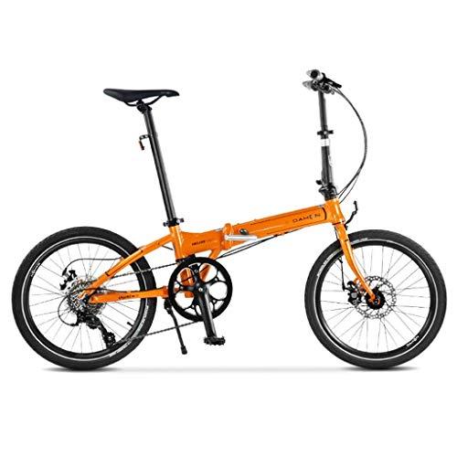 CENPEN Bicicleta Plegable 20 Pulgadas Velocidad Plegable Bicicleta Ultra luz Aluminio aleación Disco Frenos Moda Liviana Bicicleta (Color: Naranja, Tamaño: 150 * 30 * 96cm)