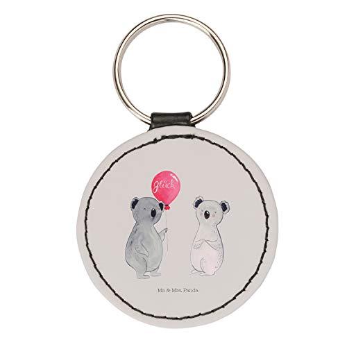 Mr. & Mrs. Panda Anhänger, Taschenanhänger, Rund Schlüsselanhänger Koala Luftballon - Farbe Grau Pastell