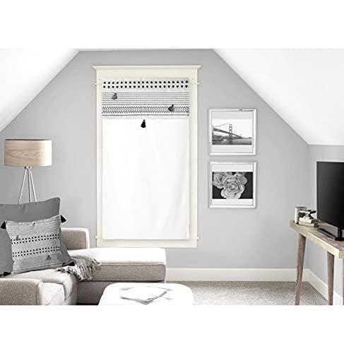 Soleil d'ocre Rideaux Brise-bise, Coton, Blanc, 70 x 200 cm
