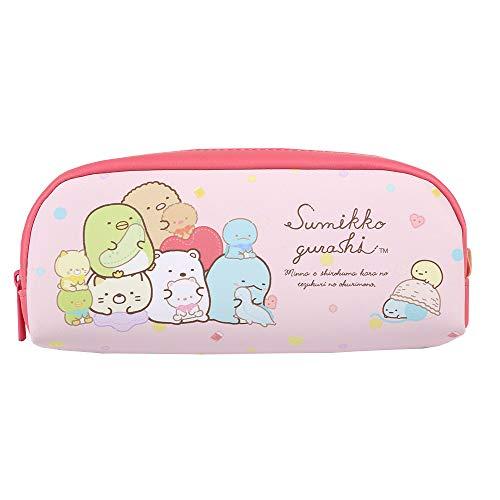 サンエックス すみっコぐらし ペンケース ペンポーチ シンプル筆箱 かわいらしいペンケース (ピンク)