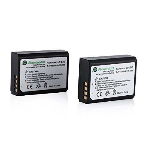 Powerextra 2 Pack Replacement Canon LP-E10 Battery Compatible with Canon EOS Rebel T3, T5, T6, Kiss X50, Kiss X70, EOS 1100D, EOS 1200D, EOS 1300D Digital Camera