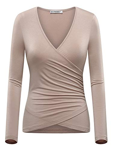 GUBERRY Long Sleeve T Shirt Women Fitted Deep V Neck Wrap Top Camel