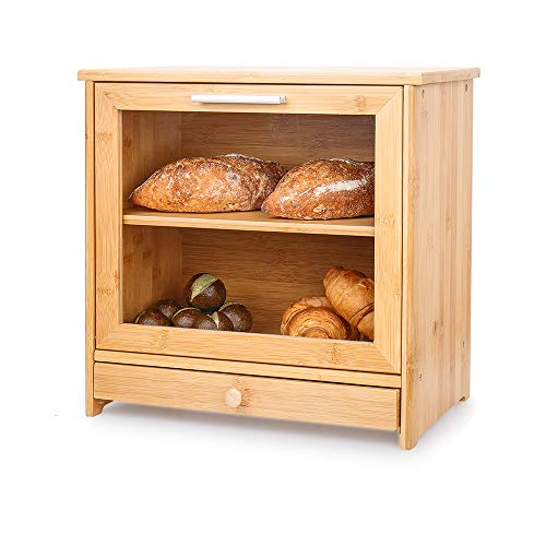 Merysen Large Bamboo Bread Box For Kitchen Countertop, Comes With Clear Front Window And Tool Drawer, 2 Layer Bread Storage Bin With Adjustable Shelf Cutting Board for Kitchen Counter