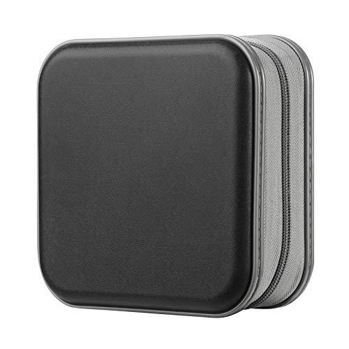 alavisxf xx CD Case, 48 Capacity Hard Plastic DVD Case Portable Zipper CD Case Holder Large Storage Disc Wallet Bag for Car Home Travel (Black, 48 Capacity)