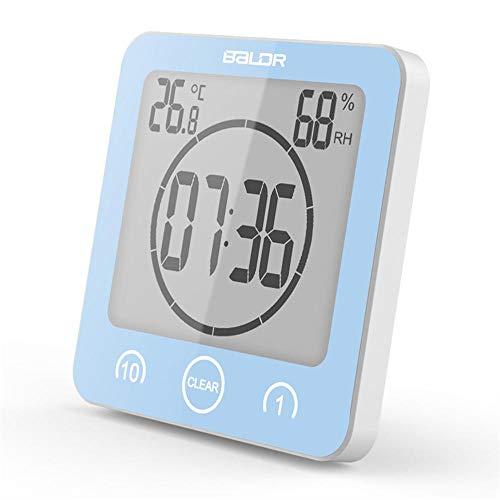 Orologio da bagno, timer per doccia, sveglia digitale, orologio da bagno, impermeabile, con termometro igrometro per doccia, cucina, trucco, rosso