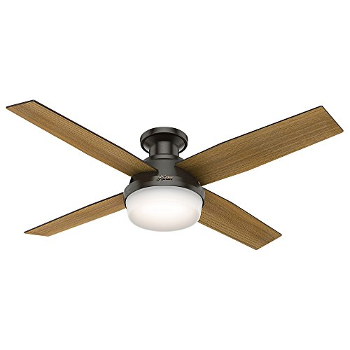 "Hunter Dempsey Indoor Low Profile Ceiling Fan with LED light and Remote Control, 52"", New Bronze"