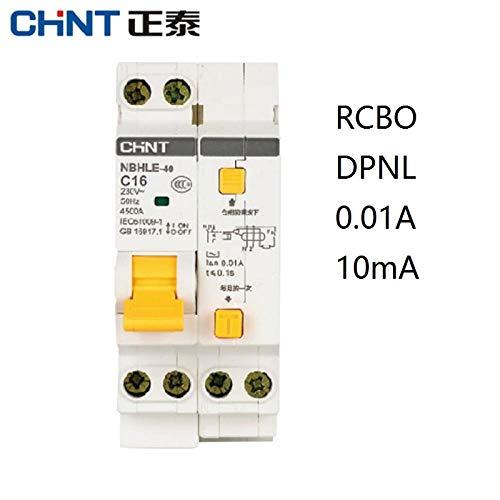 CHINT NBHLE-40 16A 20A 32A 40A 10MA 0.01A RCBO 1P + N 230V Corriente residual Disyuntor con sobrecorriente Protección contra fugas-1P_1N_16A