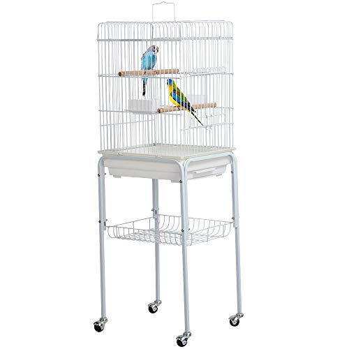 YAHEETECH 47-inch Rolling White Parrot Bird Cage for Cockatiel Sun Parakeet Green Cheek Conure Mid-Sized Parrot Cage with Detachable Stand