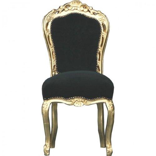 Casa Padrino Barock Esszimmer Stuhl Schwarz/Gold - Möbel Antik Stil - Esszimmerstuhl