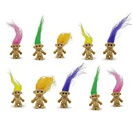 10 Mini Troll Dolls Hair colours include yellow, pink, orange and purple. Each Troll is 2cm high, this is excluding the hair. Including the hair they can be up to 6cm high. These are funky and make great table decorations or as gifts in Party bags. T...