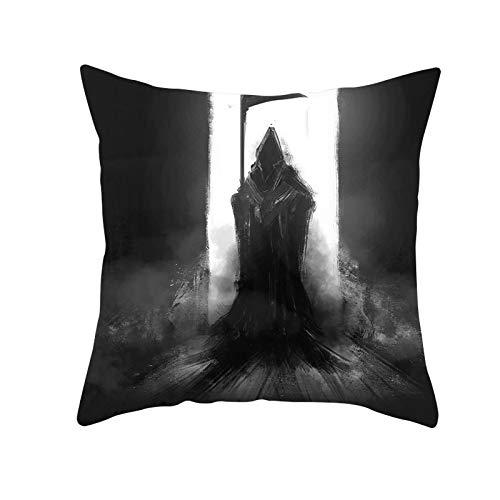 Funda de Cojín Decorativos Funda de Almohada Fantasma negro Cuadrado Terciopelo Suave Cojines Decoracion con Cremallera Invisible para Sofá Cama Decoración Hogar Funda de Cojín M86 Pillowcase,55x55cm