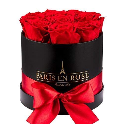 PARIS EN ROSE Rosenbox (Flowerbox) | 3 Jahre haltbar | Pont-des-Arts mit konservierten Infinity Rosen (Schwarz-Rot)