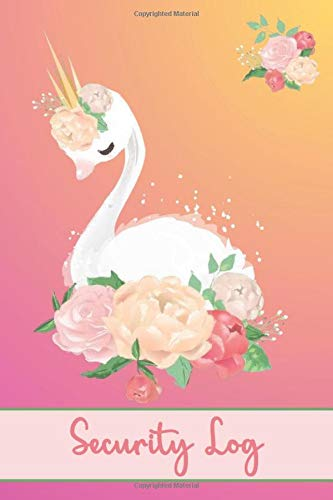 SECURITY LOG: Go Royal - Beautiful Pinky Gold Swan Cover- Logbook To Record Track Incidents, Persons Involved, Witnesses, Action Taken, Police Officers, Notes