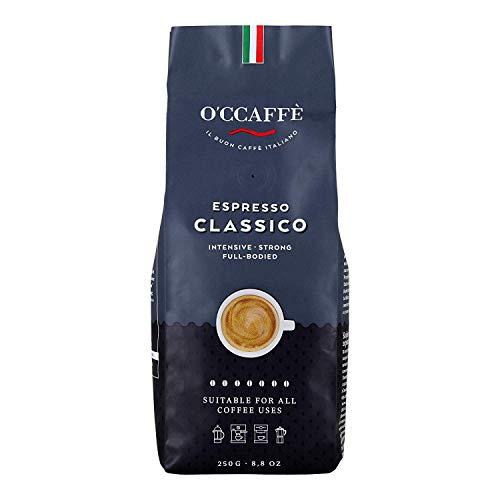 O'CCAFFÈ – Espresso Classico | 250 gr ganze Kaffeebohnen | starker, intensiver Kaffee mit feiner Haselnuss Note | Barista-Qualität aus italienischem Familienbetrieb
