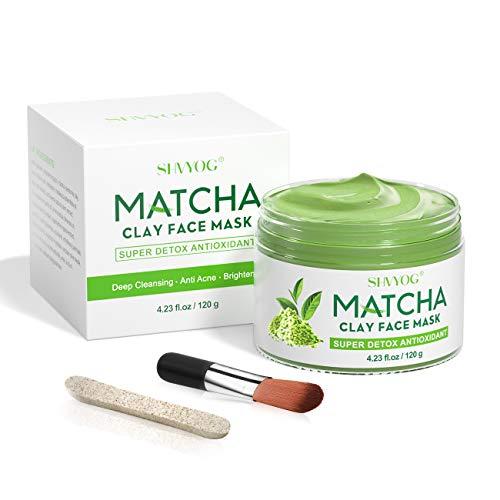 SHVYOG Matcha Green Tea Face Mask, Antioxidant Detox Face Mask with Volcanic Mud, Deep Cleansing & Moisturizing & Hydrating Facial Mud Mask for Acne, Blackheads, Pores, Wrinkles