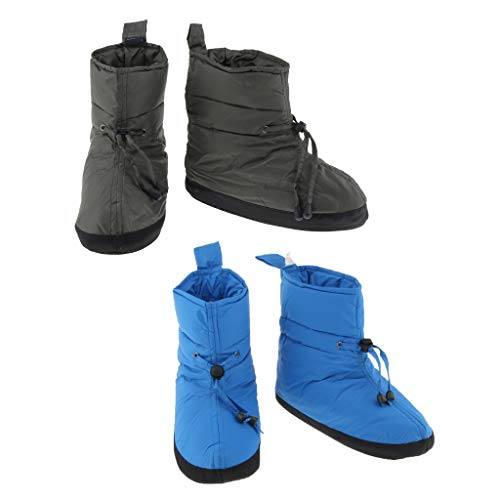 2 Pairs Duck Down Booties Down Socks Outdoor Indoor Tent Warm Soft Slippers Boots for Men and Women Camping Backpacking - Blue+Army Green