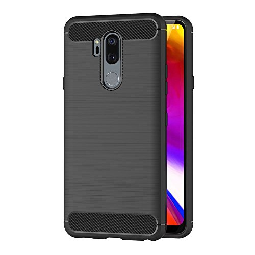 AICEK Compatible LG G7 Hülle, Schwarz Silikon Handyhülle für LG G7 Schutzhülle Karbon Optik Soft Hülle (6,1 Zoll)