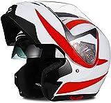 GPFFACAI casco integral moto mujer Casco plegable para motocicleta, casco integral para motocicleta, casco para scooter con visor doble antivaho, casco para scooter, casco para ciclomotor(Size:Medium)