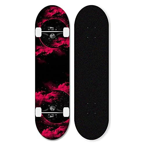 Skateboard Completo de Arce de 7 Capas, patinetas de Doble Patada 31 Pulgadas, con rodamientos de Bolas ABEC-11, para Principiantes Adultos Adultos Chicas nias-Estrella a_31 Pulgadas