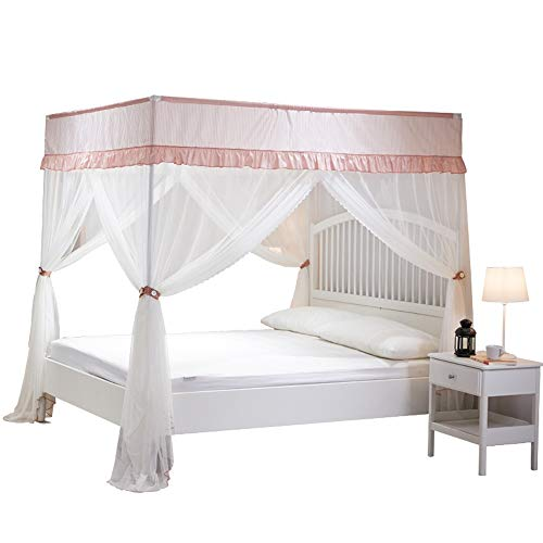 Find Discount LBSX Elegant Bed Canopy Curtains, Color Stitching Ruffle 4 Corner Post Mosquito Net, E...