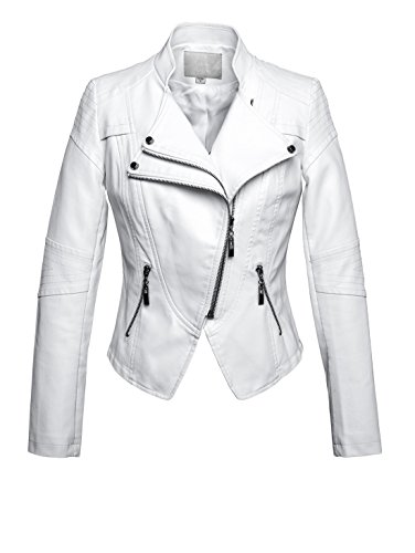 Chouyatou Women's Fashion Tailored Zip-Up Faux Leather Quilted Racer Jacket (Medium, White)
