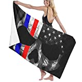 YongColer Ultra Soft 100% Polyester Cotton Bath Towels American Thin Red Blue Line Flag Skull Black Quick Dry Wash Cloths Beach Towel Fitness Towel Bath Sheets, High Absorbency Bath Sheets Towel
