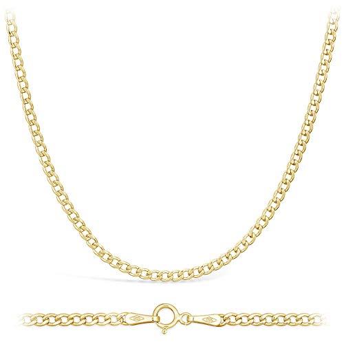 Collana a catena in oro giallo 585 14ct, unisex, larghezza 2,3 mm, lunghezza a scelta, Oro giallo, colore: oro giallo, cod. 14PH01