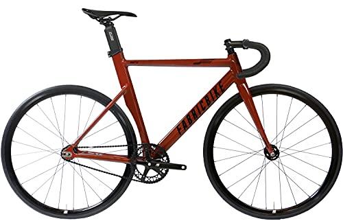 FabricBike Aero - Bicicleta Fixed, Fixie, Single Speed, Cuadro de Aluminio y Horquilla de Carbono, Ruedas 28', 5 Colores, 3 Tallas, 7.95 kg (Talla M) (Chocolate, M-54cm)