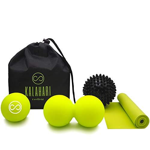 KALAHARI Bola de Masaje KIT – Bola Doble, con Pinchos y de Lacrosse más Banda Elástica. Para Automasaje muscular Miofascial. Cómoda bolsa y Ebook ejercicios en Español.