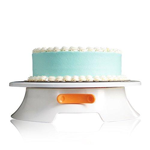 SveBake Tortenplatte - Ø 30,5cm Tortenständer mit Lock Schalter und Skalenmarke, Tortenständer drehbar für Backen Gebäck, Zuckerguss, Mustern