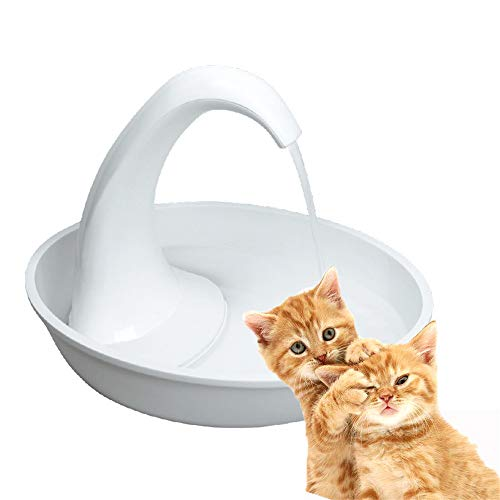 ZNN Pet Water Fountain - Cat and Dog Smart Ceramic Drinker, Large Capacity Automatic Circulation Filter, Swan Shape Design, Ultra Quiet Design, White