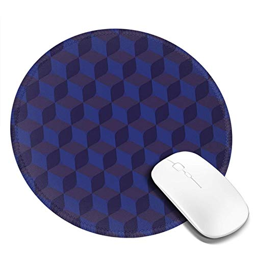 Non-Slip Rubber Base Round Mouse Pad,3D Print Like Geometrical Futuristic Inspired Shadow Boxes Cubes Image Print,for Office Computer Home