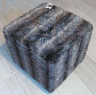LIFE DECO Grand Pouf Fausse Fourrure Carre Siege Tabouret Design Chaise Poils SCANDINAVE Nordique Salon OU Chambre