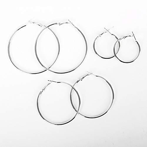 SZXCX 17040372 Nueva Personalidad antialérgica Simplificada geométrica Gran círculo Pendientes de Acero Inoxidable Pendientes Femeninos - Plata - L