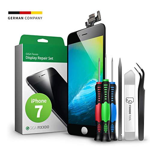 GIGA Fixxoo Display Set kompatibel mit iPhone 7, Reparaturset Komplett Schwarz, Ersatz Bildschirm, Retina LCD Glas mit Touchscreen, inkl. integrierte Frontkamera & Werkzeug