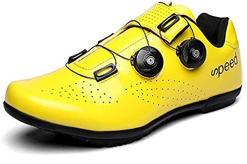 KUXUAN Zapatillas de Ciclismo para Hombre Zapatillas de Bicicleta de Carretera para Mujer con SPD,Zapatillas de Pelotón Unisex con Hebilla Compatibles con Delta,Yellow-45EU