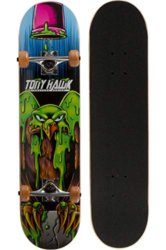 31' Tony Hawk Signature Series Skateboard, 9 - Ply Maple Deck Skateboard for Cruising, Carving Tricks, and Downhill