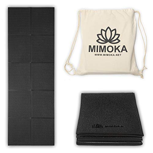 Mimoka - Esterilla Yoga Antideslizante Gruesa Plegable - Yoga Mat - Pilates - Ideal para Abdominales en casa - Colchoneta Fitness de 8 mm de Grosor y 183 x 61 cm
