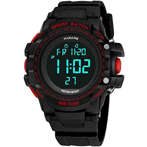 Withou Reloj de los Hombres de Deportes al Aire Libre, Luminoso Reloj Impermeable LED, Multifuncional Estudiante Relojes de Moda, clásico Simple Reloj electrónico (Color : Red)