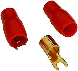 AERZETIX   C10407 2 x Große Kabelschuh   Elektrisch isolierten Gabelkabelschuhe   für 20mm² Kabel   für M4 Schrauben   Rot