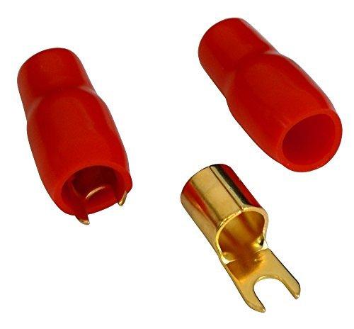 AERZETIX - C10407-2 x Große Kabelschuh - Elektrisch isolierten Gabelkabelschuhe - für 20mm² Kabel - für M4 Schrauben - Rot