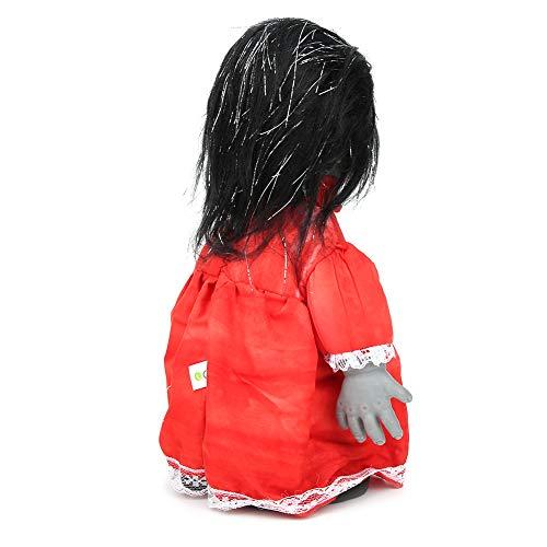 Muñeca que camina aterradora, muñeca que camina espeluznante vívida con control de voz, barra de decoración de fiesta de Halloween encantada para el hogar(Z113 walking ghost baby black hair red dress)
