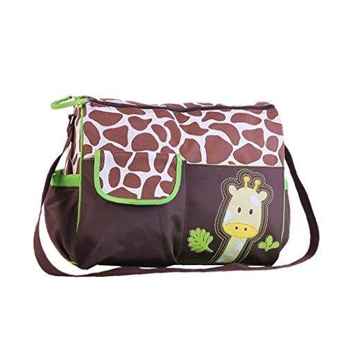 hong Wu Multifunktionale Mama-handtaschen-große Kapazitäts-Baby-windel-windel-wickeltasche wasserdichte Taschen-Tasche Giraffen-Muster Mit Grün Brim